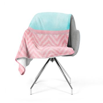 "Ingrid Beddoes ""Light Chevron Pink & Turquoise"" Blush Aqua Fleece Throw Blanket"