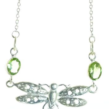 Sterling Silver Peridot Dragonfly Necklace
