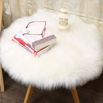 30*30CM New Soft Artificial Sheepskin Rug Chair Cover Artificial Wool Warm And Cozy Hairy Carpet Seat Pad Hot Sale NewC0606
