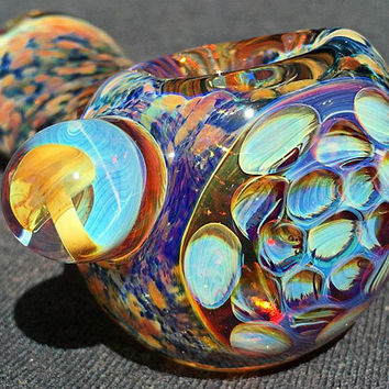 Glass Pipe, Thick Heady Handblown Inside Out Fume Glass Colorchanging Spoon Hand Pipe with Honeycomb and Mushroom Marble