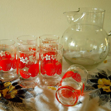 "1950s Anchor Hocking ""Oranges"" Juice Glasses, 6 Mid Century Orange Juice Glasses, Anchor Hocking Juice Glasses, Small Vintage Juice Glasses"