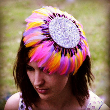 Fascinator , rainbow, beaded, clip and elastisk band