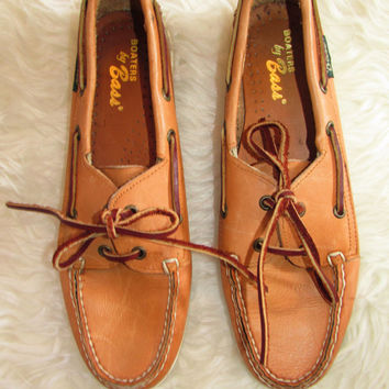 Wm's Vintage Tan Leather Bass Boat Shoes Sz 7.5