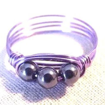 Hematite ring/wire wrap ring/purple ring/silver gemstone ring/unique ring/boho ring/purple and silver/simple ring/funky ring/gifts under 15