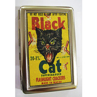 retro black cat metal wallet vintage firecracker cigarette ID case rockabilly kitsch