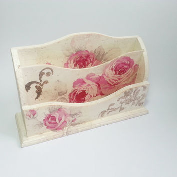 Romantic letter holder desk organizer gift idea roses shabby chic beautiful pink gift idea for her