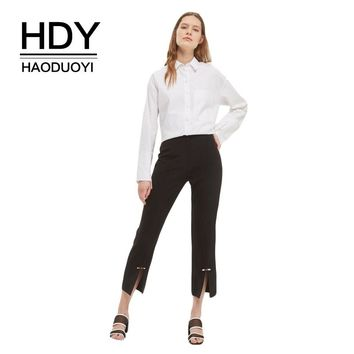 Solid Black Ankle-Length Pants Women Split Wide Leg Mid Waist Casual Loose Trousers H-Style Buttons