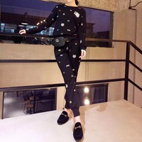 """Kenzo"" Women Casual Fashion Knit Tiger Head Embroidery Small Pattern Long Sleeve Trousers Set Two-Piece Sportswear"