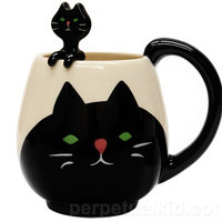 Japanese Cute Black Cat Coffee Mug with little hanging spoon