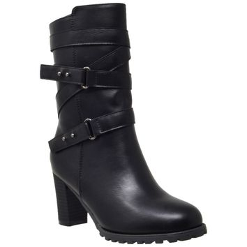 Women's Mid Calf Boots Strappy Buckle Black