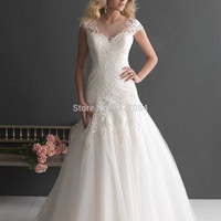 Best Selling 2015 Cap Sleeve Vintage Mermaid Lace Wedding Dresses White Plus Sizes Bridal Gown For Wedding