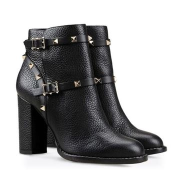 Black Thick High Heel Ankle Strap Studded Spikes Booties
