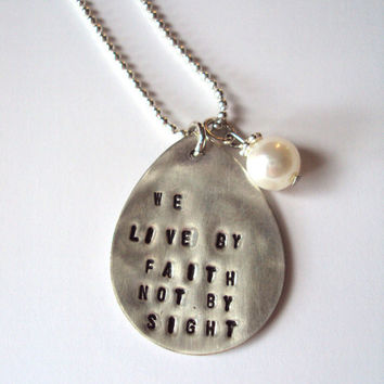 Sterling Silver Hand Stamped Pendant with Pearl with Gift Tin