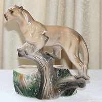 Vintage Lane and Company Ceramic Mountain Lion, Cougar Planter P-77