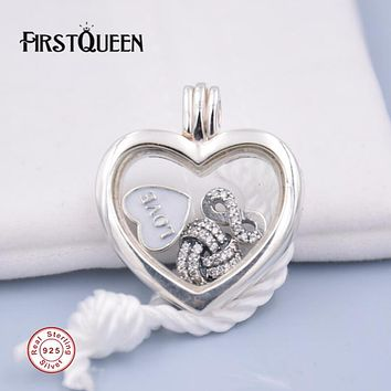 FirstQueen Brand Floating Necklace 100% Silver Floating Locket Fits Pandora Necklace & Pendant 925 Sterling Silver Fine Jewelry
