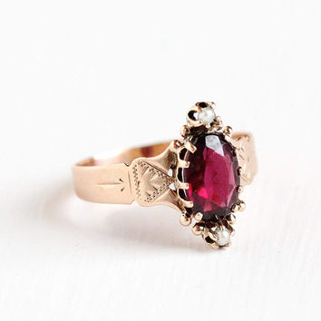 Antique 10k Rose Gold Almandine Garnet & Seed Pearl Victorian Ring - Size 7 1/4 Late 1800s Navette Purple Gemstone Fine Embossed Jewelry
