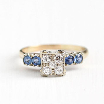 Vintage 14k Yellow White Gold Diamond & Sapphire Cluster Ring - Size 7 3/4 1940s Fine Engagement Bridal Wedding Jewelry with Appraisal