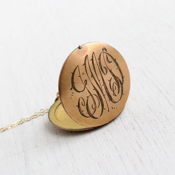 Antique Monogrammed Locket Necklace - Early 1900s Edwardian Art Deco Gold Filled Initial Monogrammed Pendant / Large Round