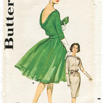 1960s vintage sewing pattern Mad Men evening cocktail dress wiggle dress or flounce skirt bust 34 b34 waist 26 w26 Butterick 9924