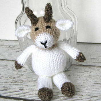 "Little Hand Knit Goat - Ready To Ship - Stuffed Animal Farm Nursery - Baby Knit Toy Child Toy - Newborn Photo Prop Stuffed Goat 7 3/4"" Tall"