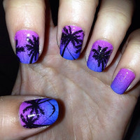 Palm Tree real nail polish strips. Nail decal wraps. TWO SETS