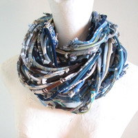 Upcycled Chunky Infinity Scarf Blue Brown Urban Nomad Art Scarf Cowl Scarf Tribal Gypsy Clothing Winter Accessories Gifts Under 100