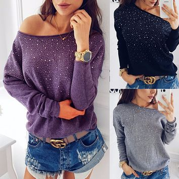 Shinning Beads One Shoulder Long Sleeves T-shirt