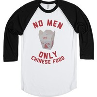 No Men, Only Chinese Food-Unisex White/Black T-Shirt