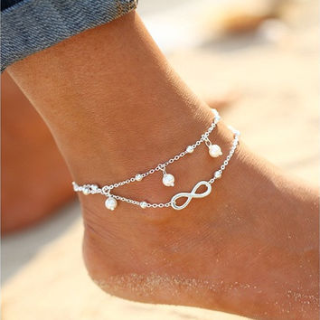 New Arrival Fashion Simple All-Match Infinity Anklet Creative Silver Plated Goldplated Double Chain Cross Shape Pretty Girl Summer Beach Travel Bracelet Jewelry [10586084244]