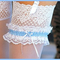 Garter - Bridal White Lace & Blue Satin Ribbon