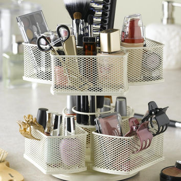 Makeup Brush & Cosmetic Carousel Rotating Organizer in Cream