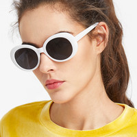 Contrast Frame Flat Lens Cat Eye SunglassesFor Women-romwe