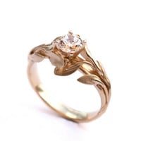 Leaves Engagement Ring No.4 - 18K Yellow Gold and Diamond engagement ring, engagement ring, leaf ring, filigree, antique,art nouveau,vintage