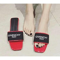 GIVENCHY PARIS Popular Women Letter Flats Slippers Sandals Shoes Red I11928-1
