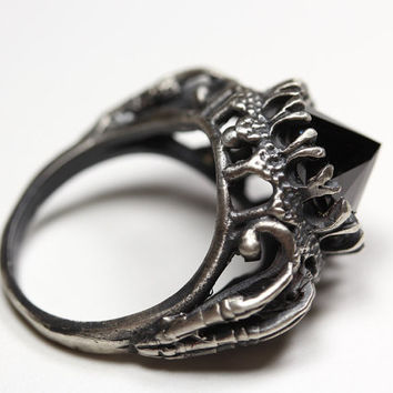 bloodmilk belonging to the darkness. sterling silver & black cz ring