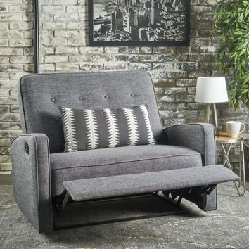 Calliope Buttoned Fabric 2-Seater Recliner Club Chair by Christopher Knight Home - Muted Blue + Black