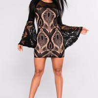 Ashley Lace Dress - Black/Nude