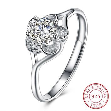 925 Sterling Silver Ring Fashion trend ring flower shape