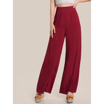 Box Pleat Detail Palazzo Pants