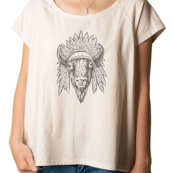 Women's bison head drawing Printed cotton T-shirt  Tee WTS_01