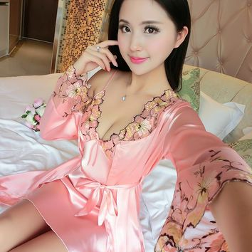 2018 new Two Pieces Sets Elegant Womens Silk Satin Nightgowns&Sleepshirts print Sleepwear Mujer Robe Lady Sexy Nightdress