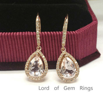 Pear Morganite Earrings Pave Diamond Halo 14K Rose Gold Hook Set 6x8mm