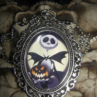 Jack Skellington Nightmare Before Christmas w/ Pumpkin 30x40mm Glass Cabochon Necklace from Cognitive Fashioned