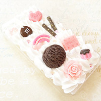 Clear iPhone 4/4S Case - Kawaii Hime - Decoden Case - Chocolate Sweets Candy - Love Heart, Pudding, Pocky, Flower, Rainbow Pastel Fairy Kei