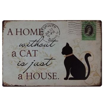 Dog Cat Pet Metal Tin Sign  Vintage