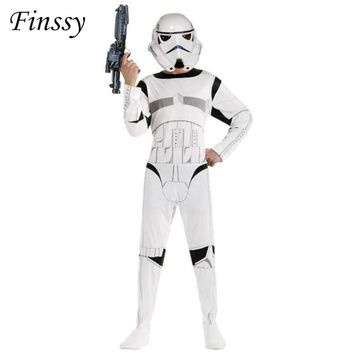 Star Wars Costume for Boys The Force Awakens Storm Troopers Cosplay Halloween Costume for Kids Carnival Party Dress with Mask