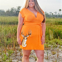 Womens plus size orange country deer hunting dress clothing