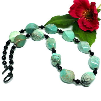 Opaque Green Moss Agate and Black Agate Handmade Gemstone Necklace