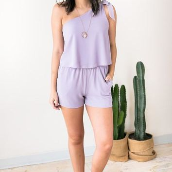 Beyond Me One Shoulder Romper - Lilac