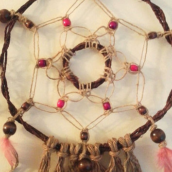 Dream Catcher Pink and Purple Jute Wall Hanging READY TO SHIP